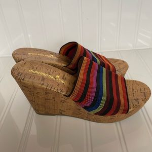 NWOT Montego Bay Club Elastic rainbow wedges